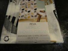 new Black Gold White Leaves Foliage Peva Vinyl Shower Curtain Metal Grommets