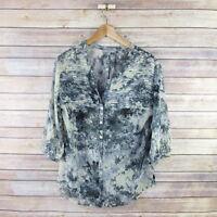 DANIEL RAINN Women's 3/4 Sleeve Sheer Button Front Blouse Top S Small Blue Gray