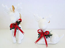 White Porcelain Deer with Metal Bows and Greens Eckerd Drug 2 Pieces