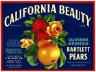 CALIFORNIA BEAUTY (ROSES) VINTAGE 1930s FRESNO CALIFORNIA PEAR FRUIT CRATE LABEL