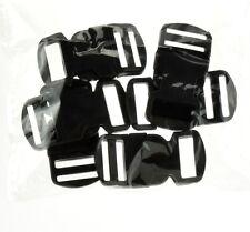 "6 Black Paracord Bracelet Buckle 3/4"" Plastic Curved Side Release Snap Survival"