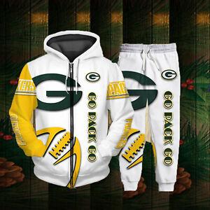 Green Bay Packers Tracksuit Set Jogging Sweatsuit Hoodie Sweatpants Sportswear