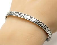 925 Sterling Silver - Vintage Swirl Decorated Bangle Bracelet - B3614