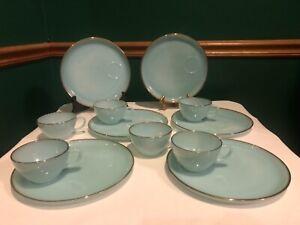 Vintage 12 Piece Fire King Turquoise Delphite Blue Hostess Snack Set 22 K Gold