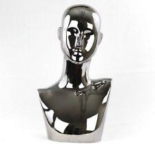 Mn 442gm Chrome Gunmetal Gray Black Female Abstract Mannequin Head Pierced Ears