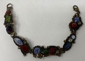 Cool Vintage Crystal Mixed Stone Glass Rhinestone Signed SORRELLI Bracelet