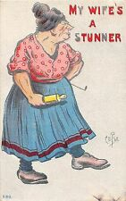 Comic postcard fat lady with rollling pin, My Wife's A Stunner