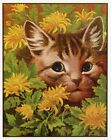 Louis Wain print CAT IN A FLOWER BED funny cat illustration art