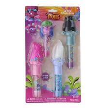 Dreamworks Trolls Roll-On Lip Gloss 4pk w Troll Hair Tops Finger Puppets
