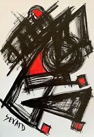 SEVARD Abstrakte Komposition Gemälde Zeichnung A4 Original Signiert Unikat N463