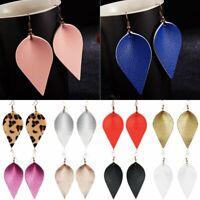 Fashion Women Handmade Boho Leather Leaf Drop Dangle Earrings Hook Jewelry Gift