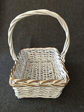 "White Wicker Basket with Gold Trim 14.5"""