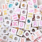 7mm Random Mixed White Cube 12 constellation Acrylic Beads 100pcs/bag 10314050
