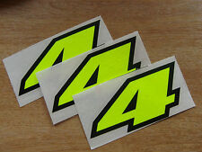set of 3 - Black & Fluorescent Yellow number 4 decals / stickers IMPACT 60mm