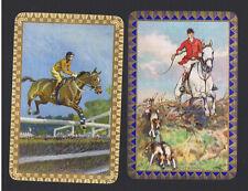 "Swap Playing Cards 2 VINT ENG  NMD "" THE  HUNTSMAN & PAIR "" HORSES  RIDERS ENN14"