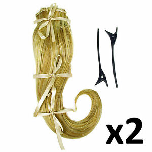 """Hair Extensions Clip In 2 Piece Ken Paves Hairdo Ginger Blonde Fashion 16"""" x2"""