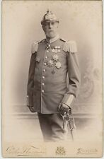 King Oscar II of Sweden in uniform with medals. Boudoir card by Florman, 1898.
