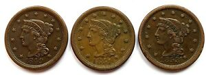 1849, 1851 & 1853 BRAIDED HAIR LARGE CENTS HIGH GRADE CIRC GREAT FOR TYPE SET