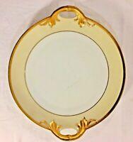 tirschenreuth bavaria serving Cake plate w/ handles cream gold gilt plymouth