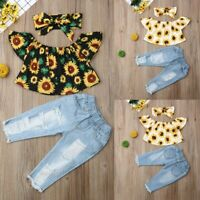 Toddler Baby Girls Kids Off Shoulder Floral Summer Tops Denim Pants Outfits Sets