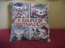 """Vintage Whimsical Tapestry Christmas Pillow """"A Couple of Christmas Cats"""""""