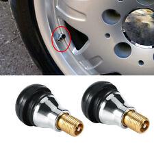 4x Black Rubber TR412 Wheel Tire Valve Stems Complete w/ Chrome Cap Auto Parts