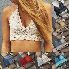 Women Crochet Lace Vest Crop Top Kintted Bra Boho Beachwear Bikini  Tank Holiday