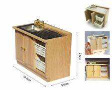 Dollhouse Miniature Kitchen Wash Basket Sink Counter top Bathroom Cabinet 1:12