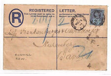 BG167 1891 GB LONDON *Bunhill Row* Registered Stationery PERFIN Jubilee BAVARIA