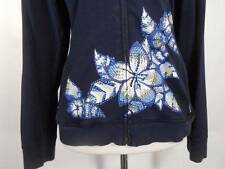 Beautiful Women's Size 1 Zenergy by Chico's Blue w/ Beaded Floral Zipper Jacket