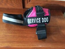 New listing Service Dog Industrial Puppy Harness w/ Hook,Loop,Pull Handle Pink Black Sz Med