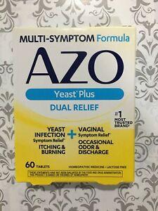 AZO Yeast Plus Dual Relief Homeopathic Multi Symptom 60 Tablets FEB 2022 #6675