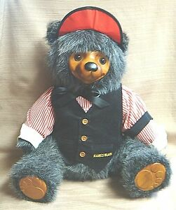 "Signed ROBERT RAIKES ""The Gambler"" TEDDY BEAR Wooden Face & Paws - #'d LTD ED"