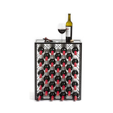 32 Bottle Glass Top Metal Floor Standing Wine Rack