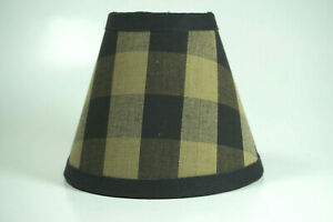 Country Black Buffalo Check Fabric Chandelier Candle Lampshade Lamp Shade