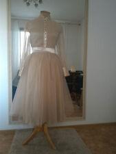 Anna Skoblikova Tea Length Tulle and Velvet Ballerina Modern Vintage Skirt Nude