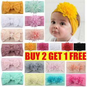 Baby Girls Flower Headband Kids Turban Knot Rabbit Bunny Bow Hair band Head wrap