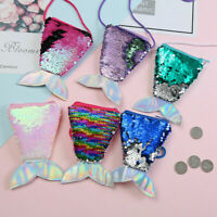 Kids Sequins Mermaid Tail Coin Purse Girl Wallet Clutch Bag Handbag Storage Cute