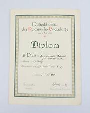 Urkunde IV.Preis Armeegewehrschiessen Reichswehr-Brigade 24 1920
