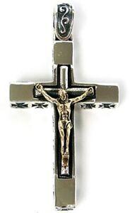 JESUS CROSS CRUCFIX SOLID STERLING 925 SILVER PENDANT