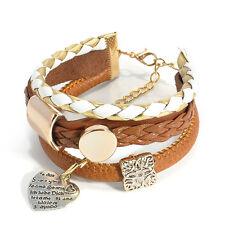 Fashion Women Multilayer Leather Braided Rope Wrap Cuff Wrist Bracelet
