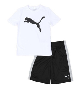 Puma Toddler 2 Piece White T-Shirt & Black Shorts Set LOGO NWT ~ MSRP $28.00