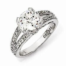 Cheryl M Sterling Silver Checker-cut CZ Ring Size 7 #848