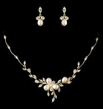 Gold plated bridal necklace ebay gold plated freshwater pearl and cz wedding necklace earring bridal jewelry set junglespirit Images