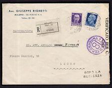 STORIA POSTALE Regno 1940 Raccomandata da Milano a Lecco (FMI)