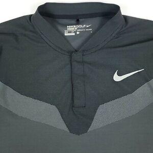 Nike Blade Collar Golf Gray Dri Fit Mens Short Sleeve Polo Shirt Size Large