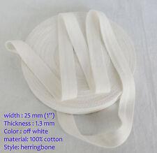 25mm crème En épi tissage Bruant coton fixation Bande de sangle x 18,3 m
