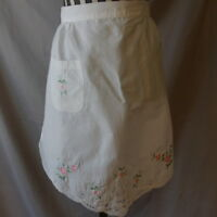 Half Apron Vintage White With Pink Flowers Embroidered Fun Cute