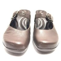 Dockers Womens Quirky Mary Janes Brown Leather Mules Shoes Size 8 Us New No Box