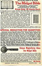 1928 small Print Ad of The Midget Bible New Testament & Unique Mag 00004000 nifying Glass